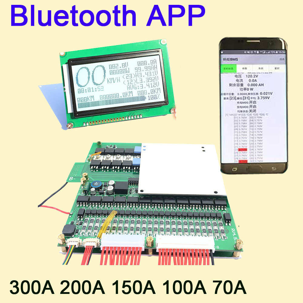 Smart 8S ~ 24S Lifepo4 li-ion Lipo LTO Battery Protection Board BMS 300A 200A 100A 70A Bluetooth APP 10S 13S 14S 16S Balance LCD