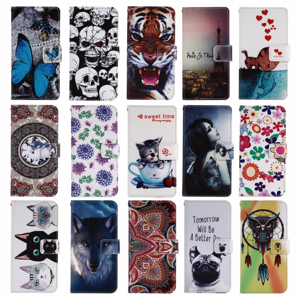 GUCOON Cartoon Wallet Case for Oysters Pacific 4G 5.0 Fashion PU Leather Lovely Cool Cover Cellphone Bag Shield