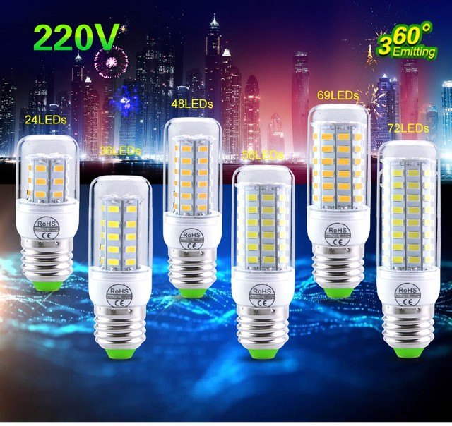 Led Corn Bulb E14 E27 Led Lamp 220V 240V 3W 5W 7W 12W 15W 18W 20W SMD 5730 (5630) Lampada Spotlight Lanterna Candle Chandelier