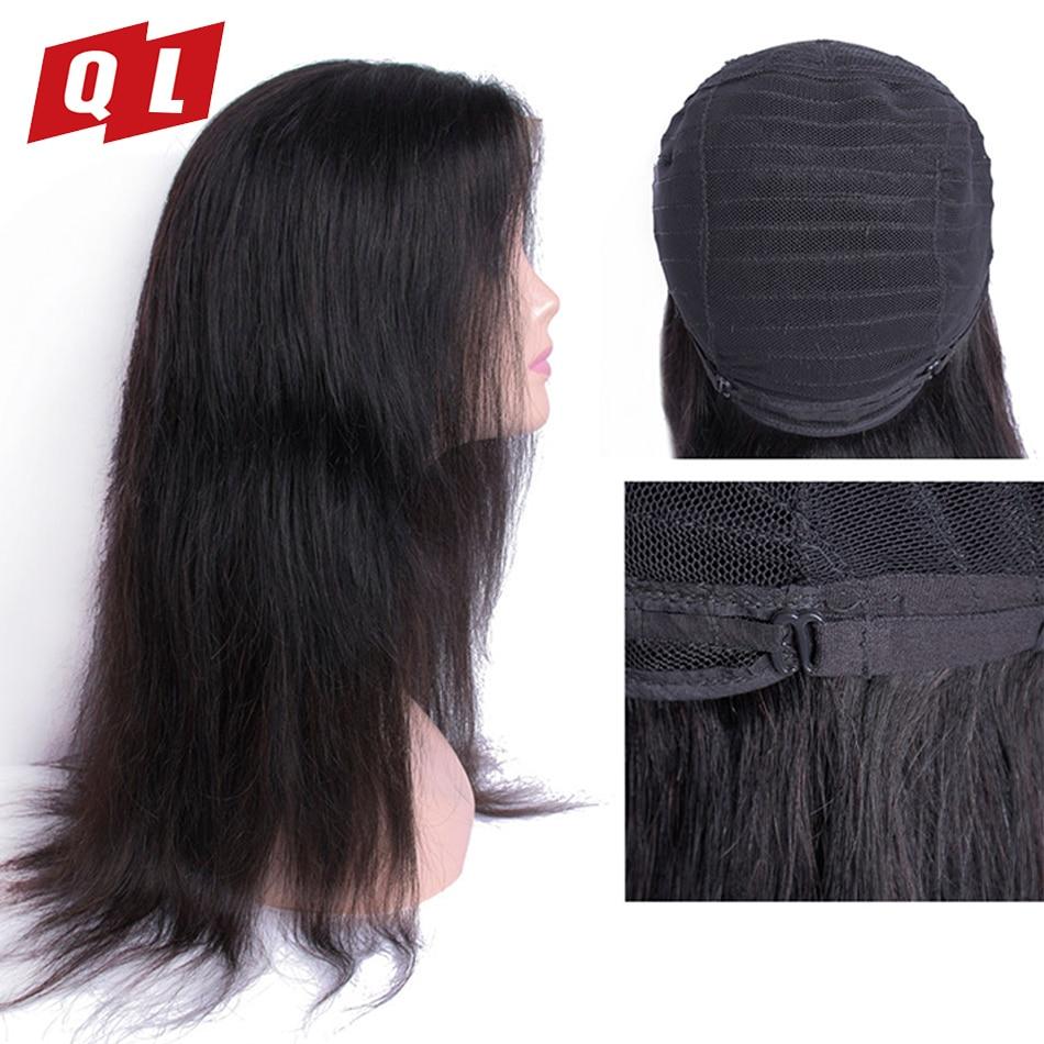 QLOVE волосы прямые волосы Малайзии парики натуральные волосы-Реми кружева фронтальной парики естественной Цвет прямо парики Бесплатная дос...