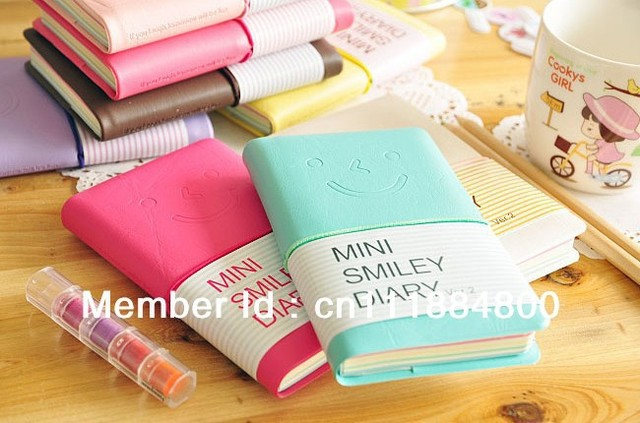 Free shipping stationery PU smiley mini diary/note book/jotter/diary book/ 100 sheets 5pcs/lot