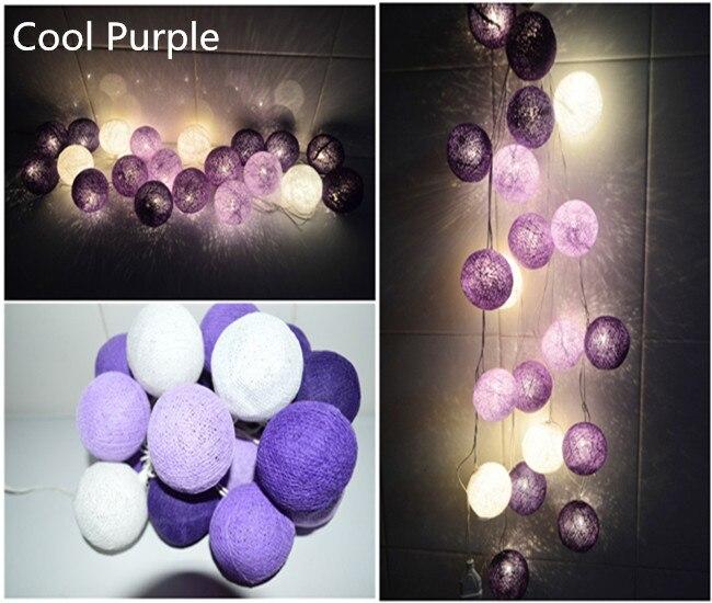 New Design Cool Purple Tone Cotton Ball String Lights Fairy Lights Party Wedding Xmas Garland