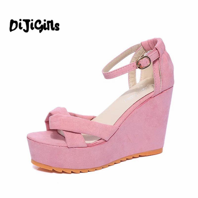 Summer Wedges Gladiator Sandals 2017 Creepers Beach Platform Shoes Woman Slip On Casual Women Shoes 4 Colors chnhira 2017 suede gladiator sandals platform wedges summer creepers casual buckle shoes woman sexy fashion high heels ch406