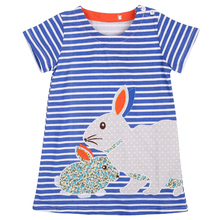 2016 New Lovely Kids Baby Girls Clothes font b Dress b font Summer Bunny Navy White