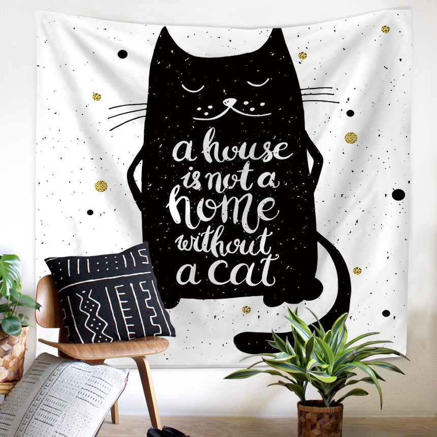 Cute Black Cat Wall Tapestry Pet Lover Kitten Painting for Children Room Decoration Corridor Curtain Funny Artistic Beach Towel