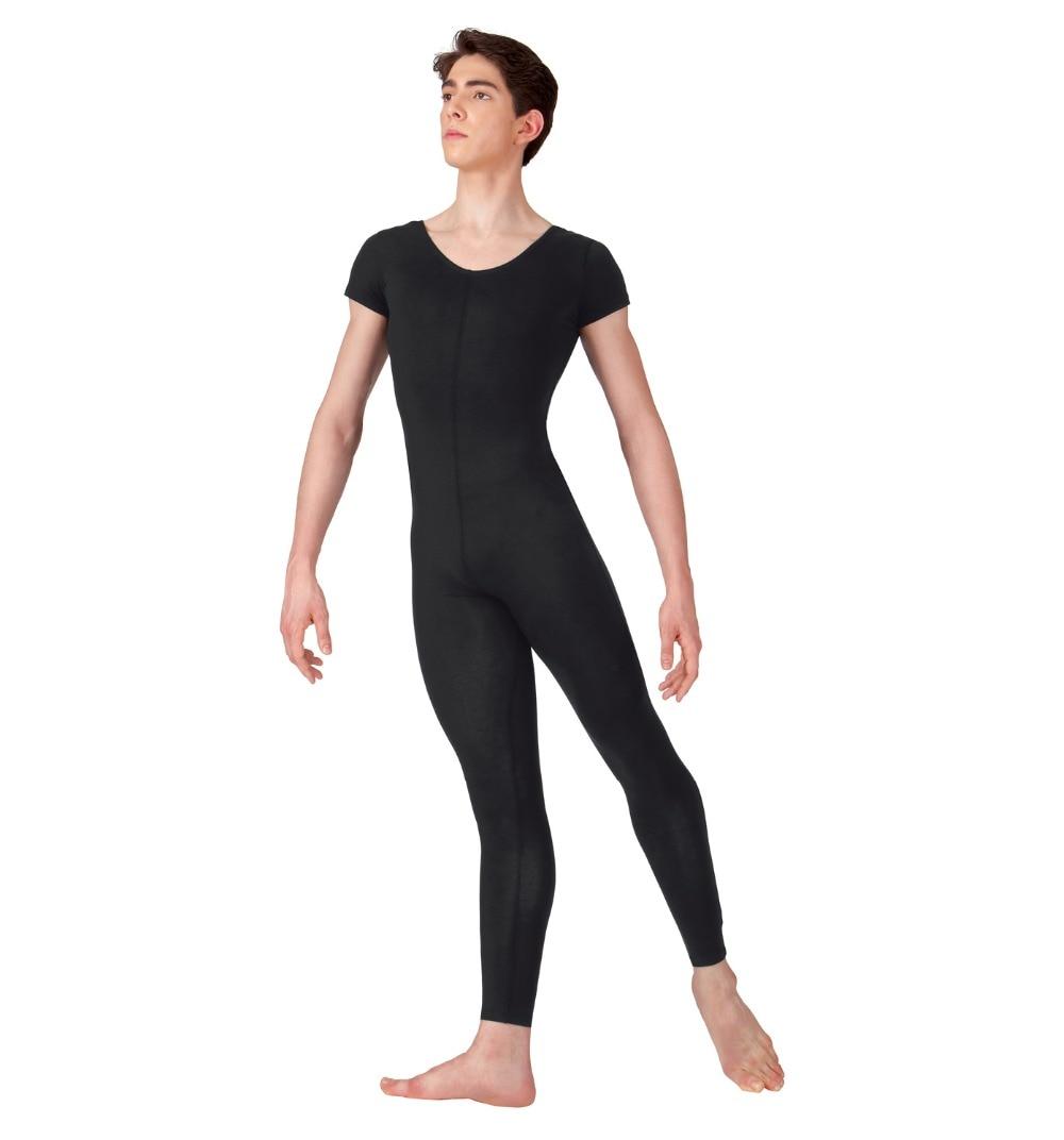 Plus Size Scoop Neck Full Length Spandex Black Mens Short Sleeve Unitard Tights Gymnastics Footless Dancewear Costume