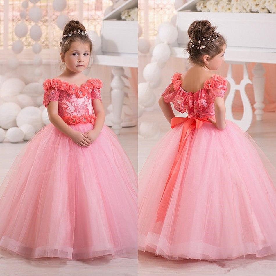 Lindo vestido de Bola Rosa Vestidos de Niña Para Las Bodas 2017 ...