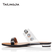 Factory Wholesale Flat Crystal Black Slippers Studded Transparent Flats  Women Summer Nude Sandals Lady Studs Shoes 74e4f0a33609