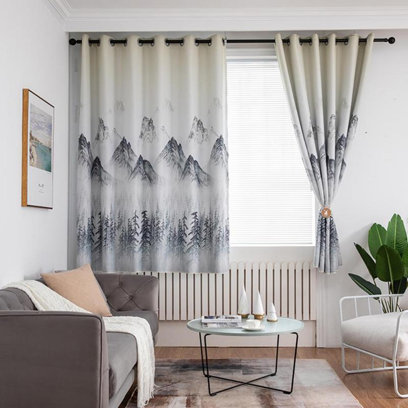 Landscape Printing Polyester Window Blinds Drapes Living Room Bedroom Blackout Curtains for Windows Home Textile(China)
