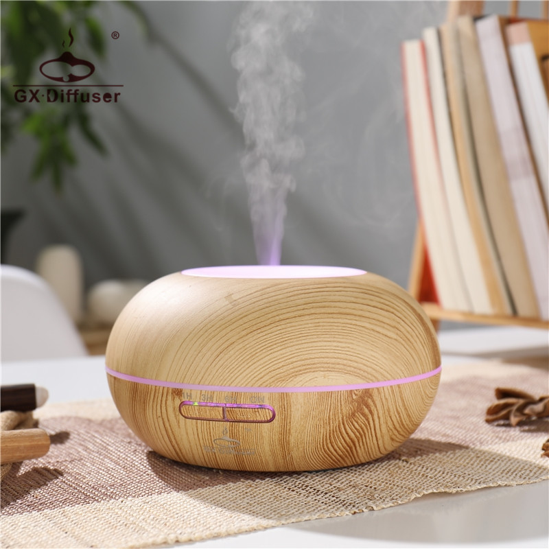 GX.Diffuser 300ML Ultrasonic Humidifier LED Light Dry Protect Ultrasonic Essential Oil Aroma Diffuser Air Humidifier Mist Maker