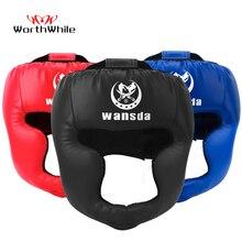 Стоящий кикбоксерский шлем для мужчин и женщин из искусственной кожи Каратэ Муай Тай Guantes De Boxeo Free Fight ММА Санда обучение взрослых детское оборудование