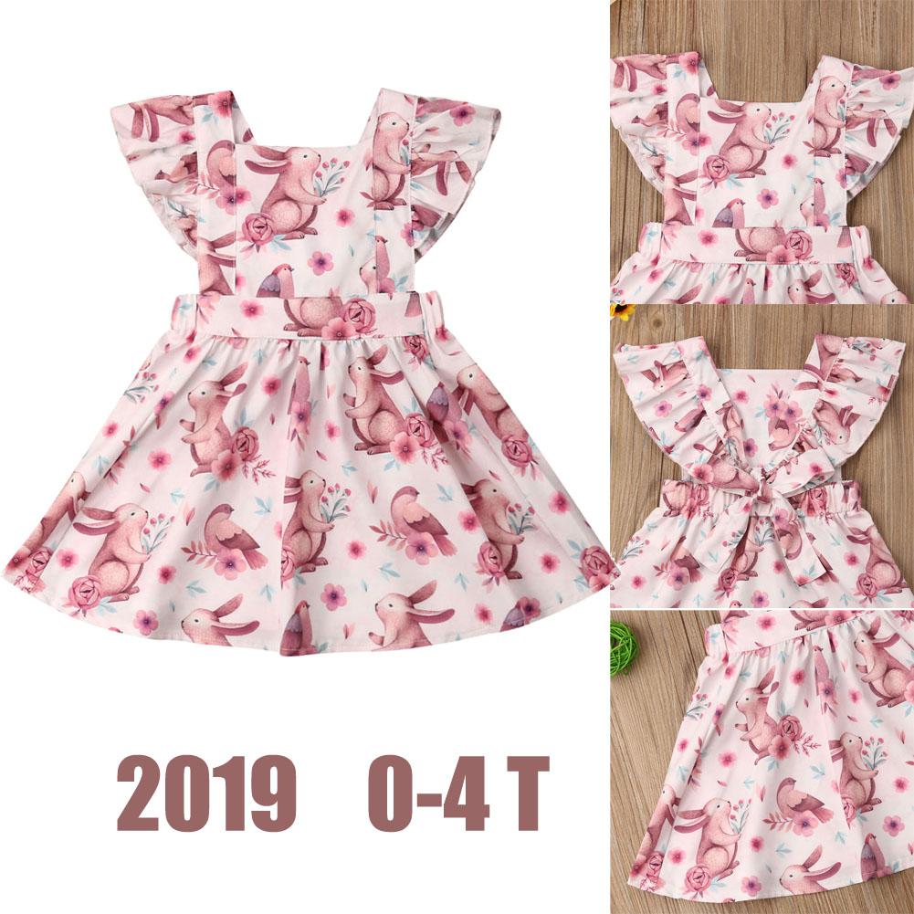 005efcf5db8ae 2019 Brand New Princess Infant Kids Baby Girls Easter Dress Rabbit Animal  Print Ruffles Petal Sleeve Pink Dress Summer Sundress