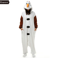 Ensnovo Olaf Character Adult Unisex 2015 New Winter Fleece Hoodie Cute Cartoon Animal Onesie Pajamas Snowman