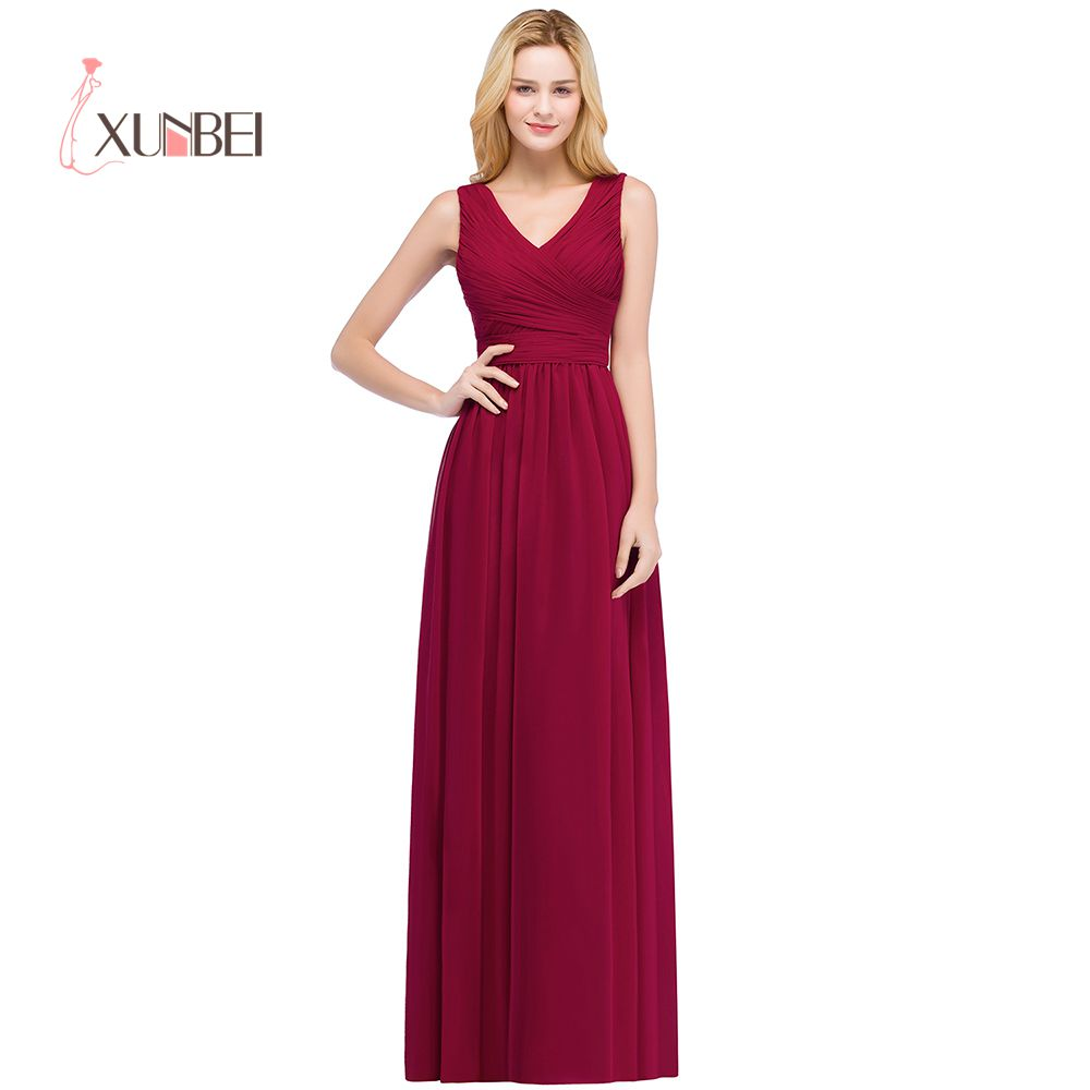 Robe Demoiselle D'honneur 2 Style V Neck / One Shoulder Burgundy Bridemaid Dresses Long 2019 Chiffon Prom Dress Party Gowns