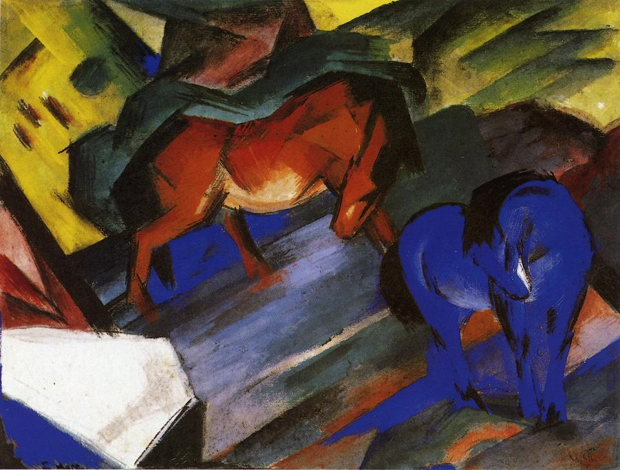 High Quality Oil Painting Canvas Reproductions Red And Blue Horse 1912 By Franz Marc Hand Painted Painting Calligraphy Aliexpress