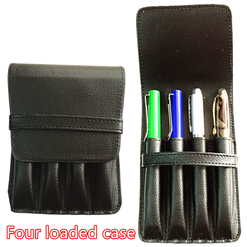 HIGH QUALITY LUXURY BLACK ROLLER AND FOUNTAIN PENS CASE HOLDER FOR 4 PEN цены