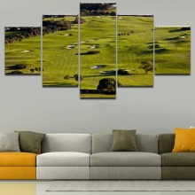 5 Piece Green Landscape Golf Course Poster Wall Art Home Decorative Modular Picture Framework For Modern Living Room Or Bedroom