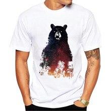 Fashion 2017 Men T-Shirt Men Summer Funny T Shirts Brand Clothing night bear Print Men tee Tops Short Sleeve T shirts for men