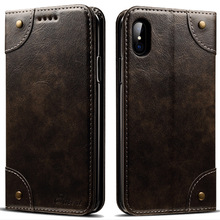 For iphone X Calf leather simple bracket Cover case For iphone 6 7 8 plus Flip card Pocket all-inclusive protection For iphone 7