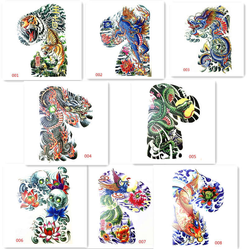 2017 hot sale 24X34CM 1 set 8pcs cool design Temporary Body Tattoo Art Stickers Big shoulder blade tattoos boy shoulder tattoo 2017 hot 1pcs 63sn 37pb flux 1 8