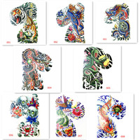 Temporary Tattoo body Art Stickers Big shoulder blade hot sale 24X34CM 8 pcs cool design waterproof tattoos boy shoulder tattoo