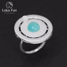 Lotus Fun реальные 925 серебро День Святого Валентина подарок вы моя планета Творческий Дизайн ручной работы Ювелирные украшения Поворотный кольцо