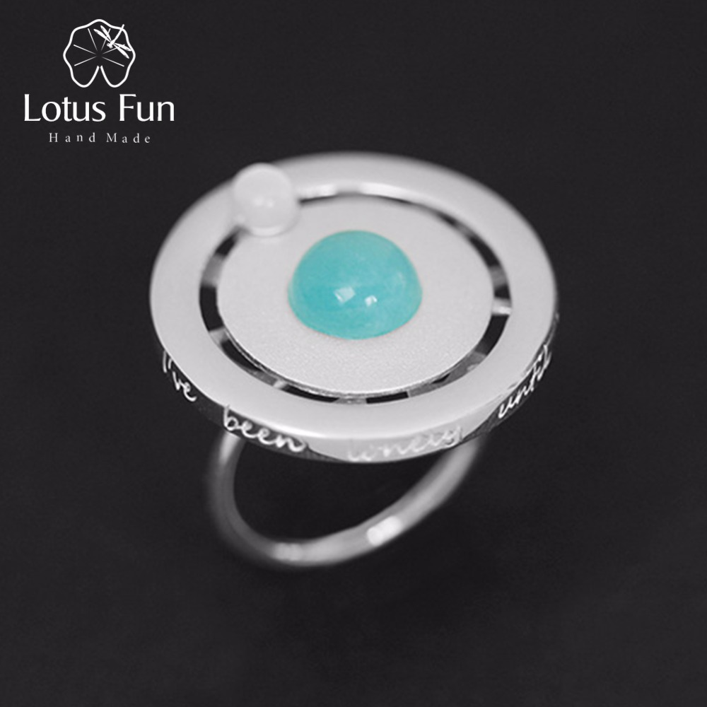Lotus Fun Real 925 Sterling Silver Valentine's Day Gift You Are My Planet Creative Design Handmade Fine Jewelry Rotatable Ring