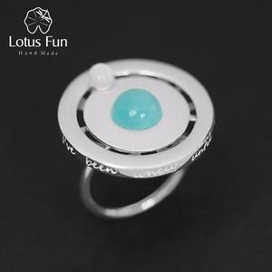 Image 1 - Lotus Spaß Echt 925 Sterling Silber Valentinstag Geschenk Sie Sind Mein Planeten Kreative Design Handgemachtes Feine Schmuck Drehbare ring