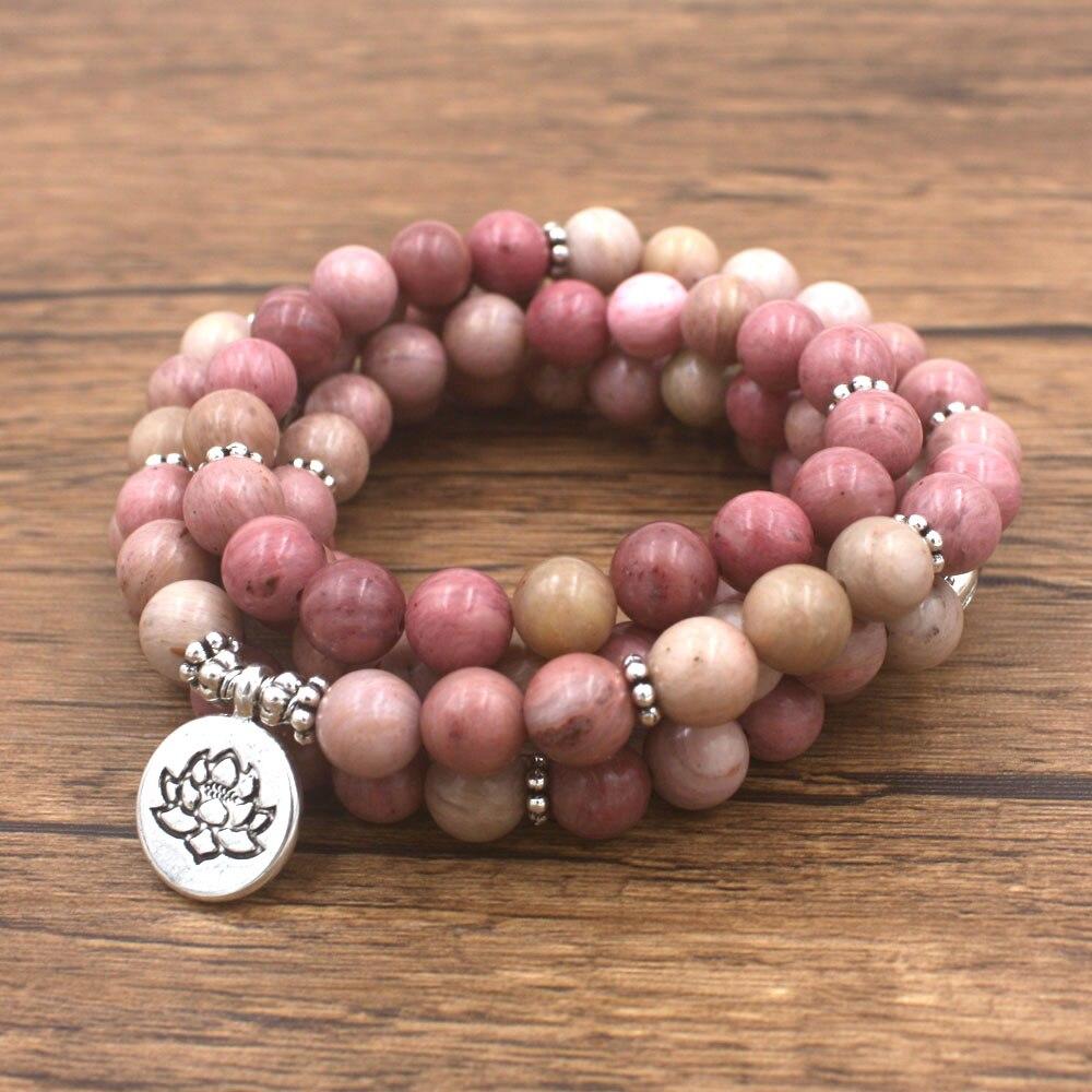 Frauen Yoga Armband 108 Mala Rhodonit Armband Heilung Spirituelle Geschenk dropshipping