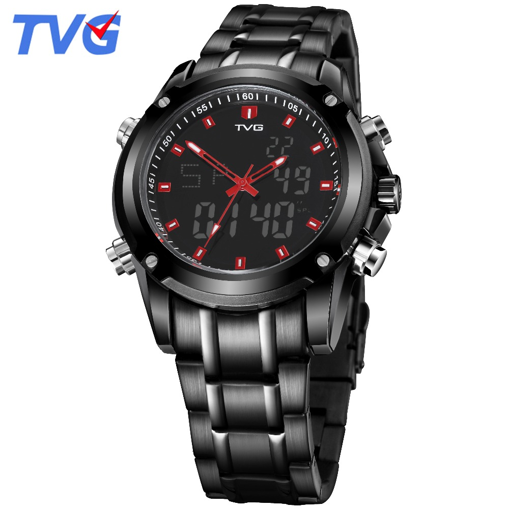 TVG mens watches 2018 Fashion male clock Stainless Steel Sport Watch Date Day Week Display Casual luxury men's Wrist Watch wwoor business dress wrist watch men modern date week display stainless steel band mens watches classic luminous male clock gift