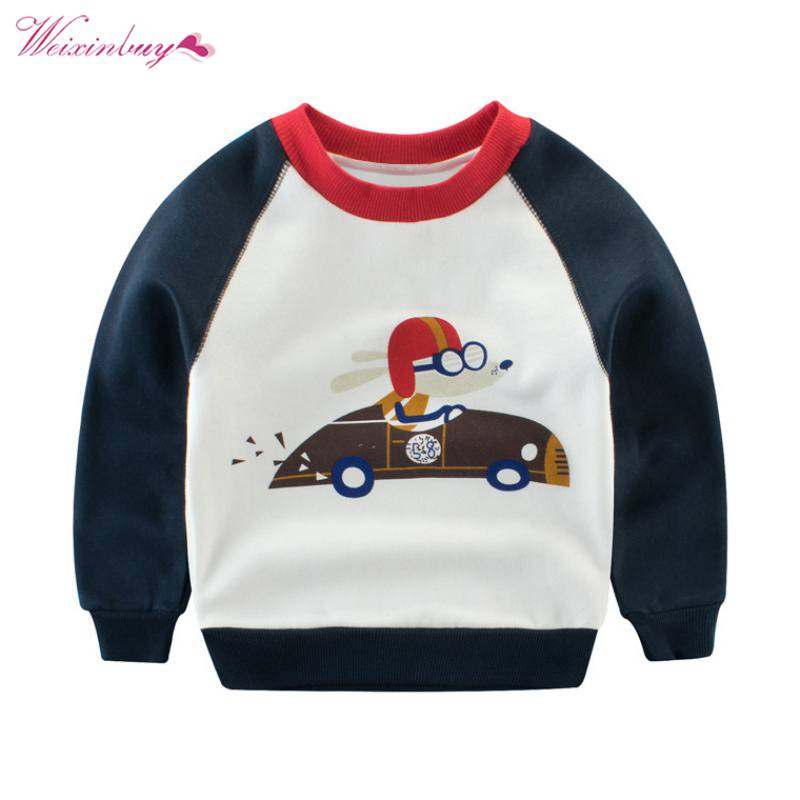 WEIXINBUY Autumn Winter Children Boys Sweatshirt Long Sleeve Clothing Kids Clothes Baby Cartoon Casual Cute Clothes