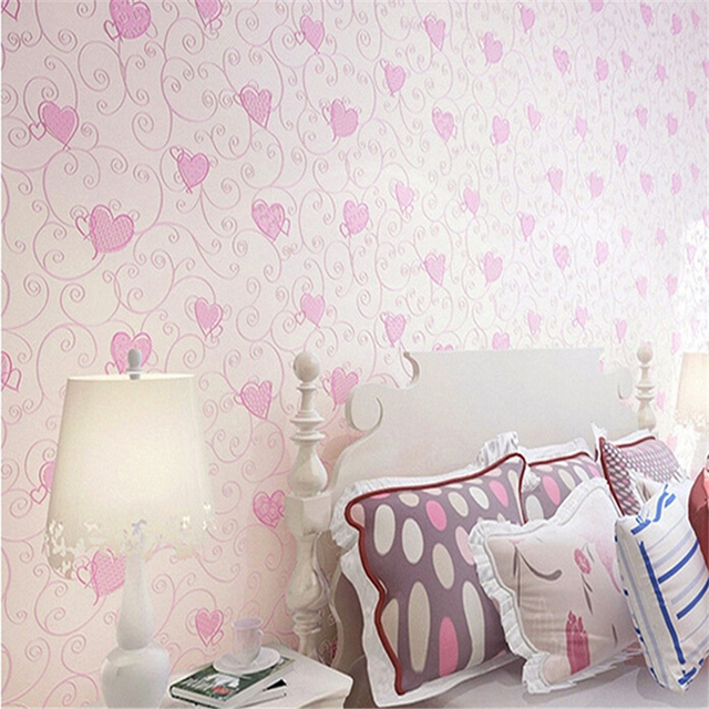 Beibehang Green Cartoon Wallpaper Cute Blue Pink Love Baby Girl Room Bedroom Non