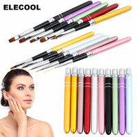 10Pcs Lot Nail Art Brush Set 10 Colors Different Sizes Stainless Steel Handle Design Polish UV