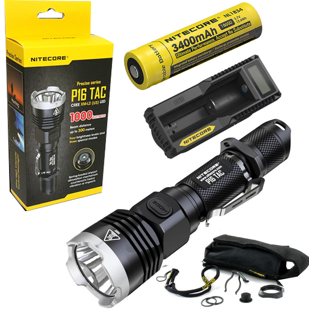 Nitecore P16 TAC 1000 Lumens CREE XM-L2 U3 LED Tactical Flashlight Hunting Search Torchs with 3400mAh 18650 battery and charger led tactical flashlight 501b cree xm l2 t6 torch hunting rifle light led night light lighting 18650 battery charger box