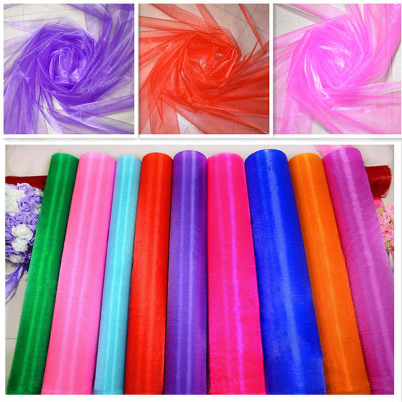 20M X 75CM DIY Organza Fabric Crystal Sheer Organza Tulle Roll Drapes Wedding Party Home Birthday Decoration 19 Color for Choose