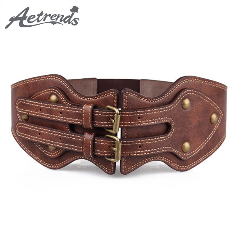 [AETRENDS] Women Wide Cinch Belt Double Pin Buckle Vintage Cummerbunds For Dress Coat Strap All-Match Lady Waist Belts D-0093