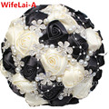 Ivory Black Elegant Handmade Bouquets Decorative Artificial Flowers Bridal&Bridesmaid Crystal Wedding Bouquets W224 Multi-colors