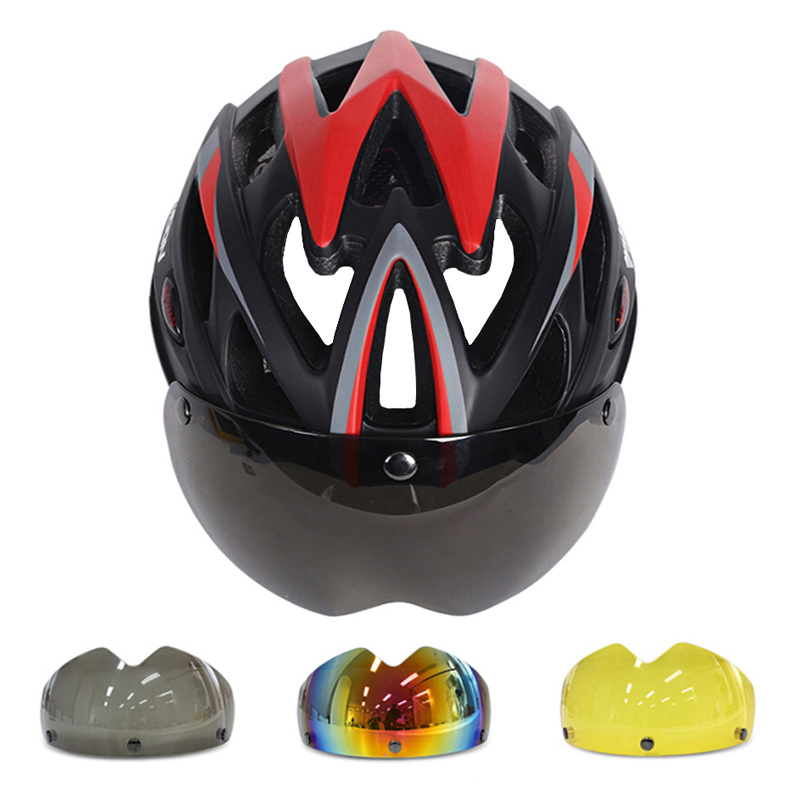 MOON 275g Magnetic Goggles Bicycle Helmet Ultralight Bicycle Helmet With Lens In-mold Bike Helmet 25 Air Vents Casco Ciclismo moon 2017 in mould led bicycle helmet