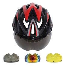 LUNA 275g Magnética Gafas de Bicicleta Casco Ultraligero Casco de La Bicicleta Con Lente En molde Casco de Bicicleta 25 Orificios de Ventilación Casco Ciclismo
