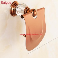 New Edge Simple Luxury Rose Gold With Diamond Toilet Lavatory WC Paper Holder Roll Tissue porte papier bathroom accessories