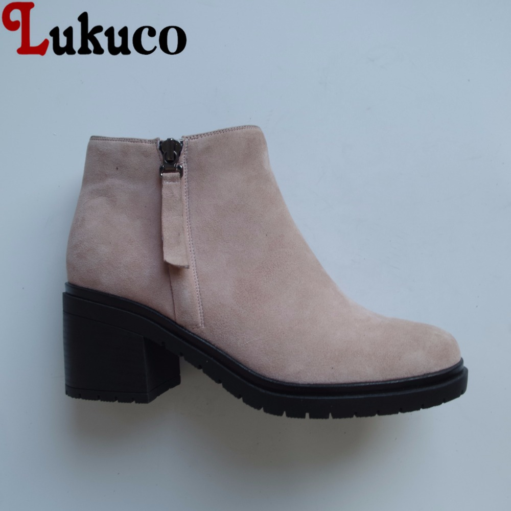 Lukuco pure color women ankle boots microfiber made zip design med hoof heel shoes with short plush inside lukuco pure color women mid calf boots microfiber made buckle design low hoof heel zip shoes with short plush inside