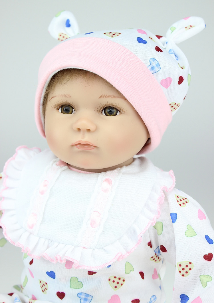 ФОТО Cute16''/ 40cm Silicone Reborn Baby Dolls with Clothes,Lifelike Newborn Baby-Reborn Doll Plaything for Children Free Shipping