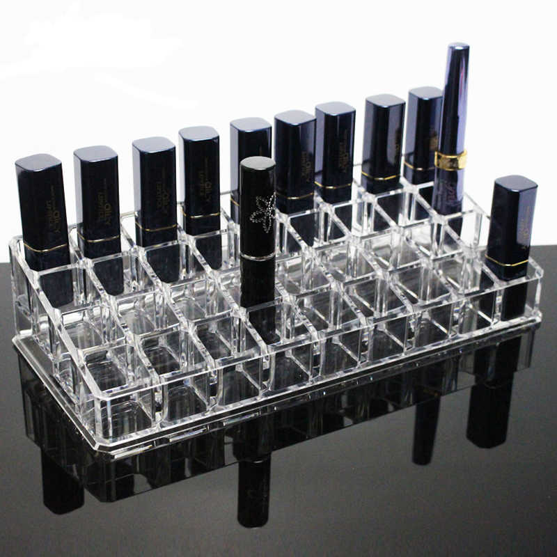 New Clear 36 Grids Acrylic Lipstick Holder Cosmetic Storage Box Makeup Organizer Sundries Display Box Cosmetic Tools Case