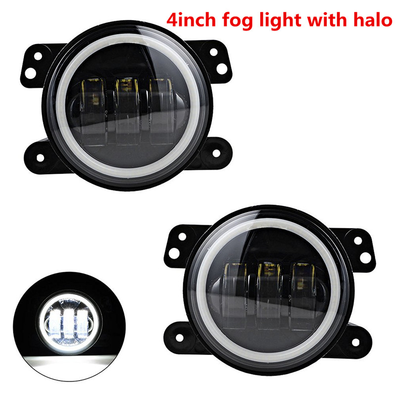 Pair/2PCS 4 INCH 60W How power LED fog lights Halo Ring Angel eyes for Jeep Wrangler 97-16 JK TJ LJ ATV led fog lamp