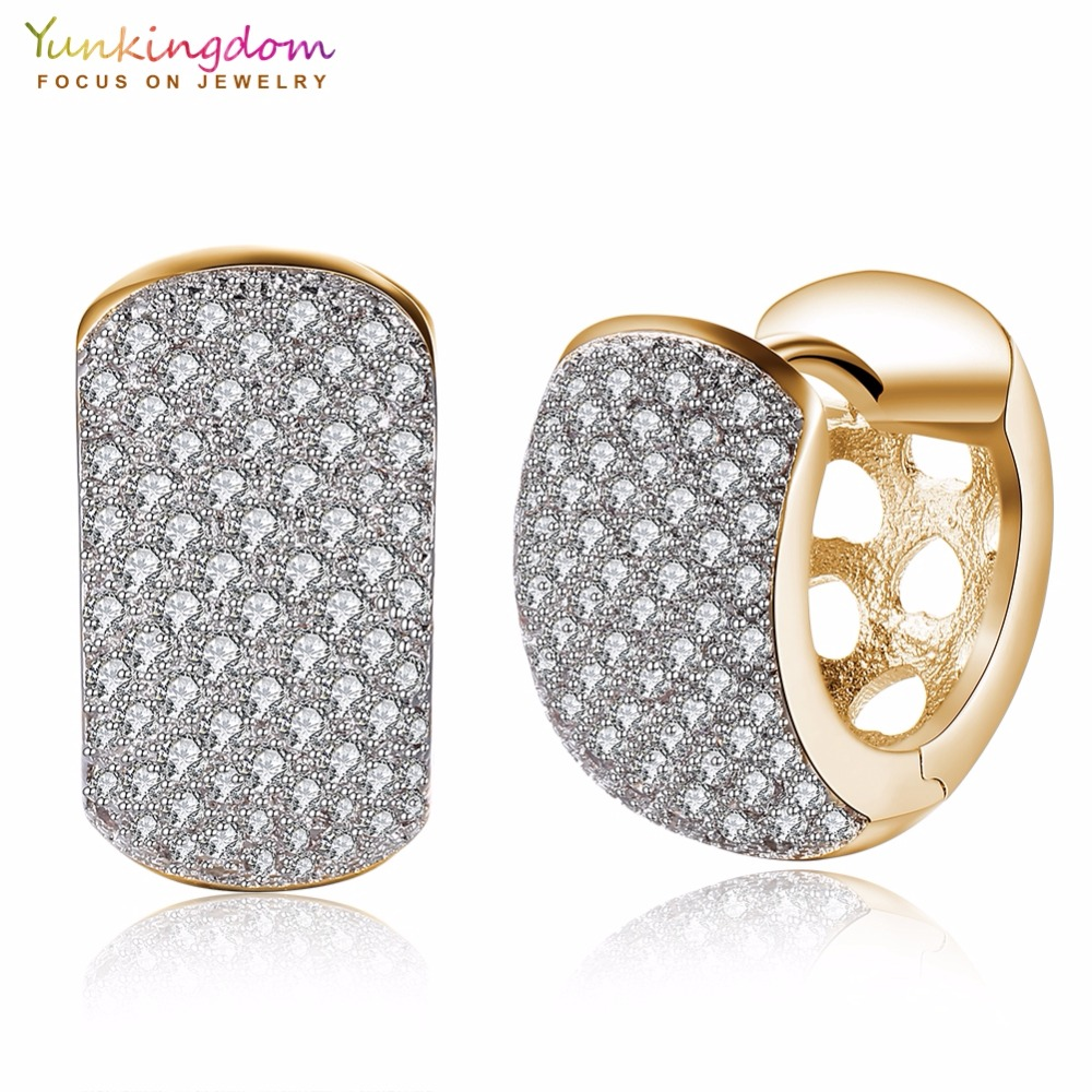 Yunkingdom Vintage Round Hoop Earrings for Women Gold Color Fashion Earring 2017 Brincos LPK5132 pair of vintage rhinestoned heart hoop earrings for women