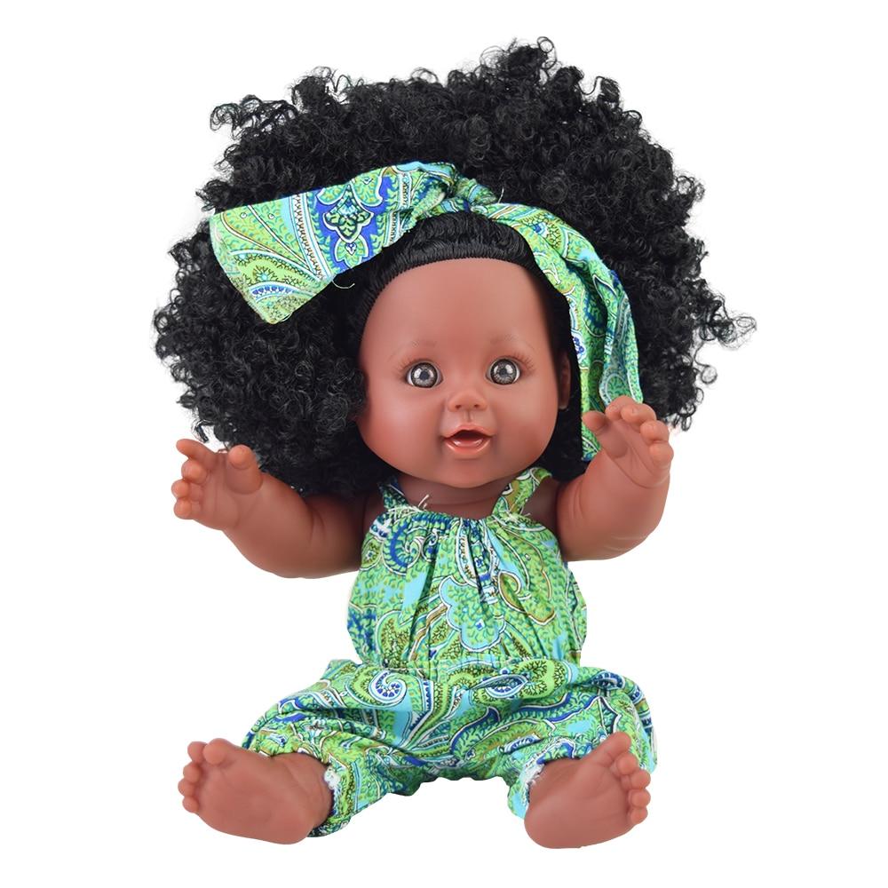 black  baby dolls pop green African! 12inch  lol reborn silicone vinyl 30cm newborn poupee boneca baby soft toy girl kid todder 1