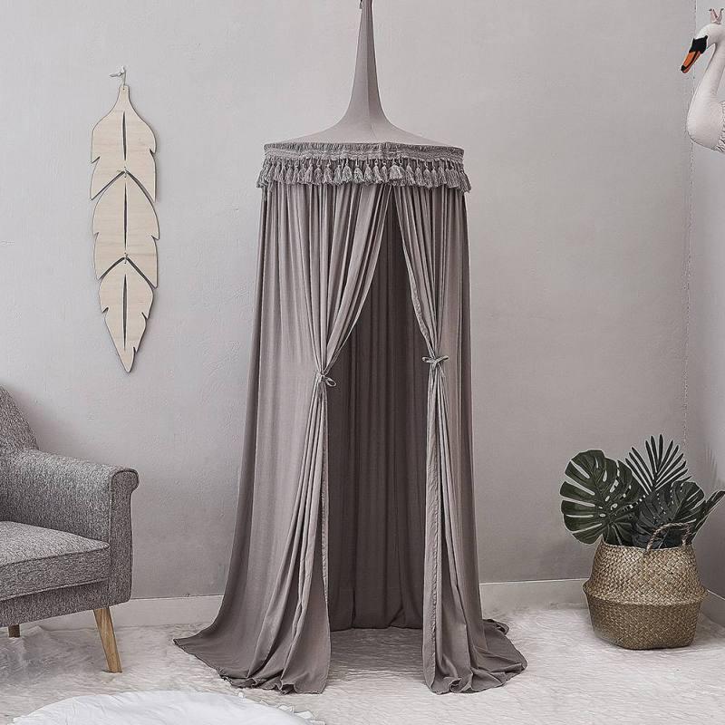 Rideau de lit en coton nordique suspendu dôme princesse moustiquaire avec macramé et dentelle décoration chambre accessoires de photographie fournitures