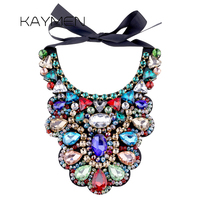 Fashion Luxury Handmade Statement Crystal Necklace for Women Bohemian Style Multicolor Glass Stone Torques Necklace Party 1521