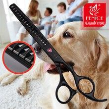 Fenice 7,0 дюйма 7,5 дюйма из нержавеющей стали для домашних животных, филировочные ножницы для ухода за собакой, истончение, скорость 75
