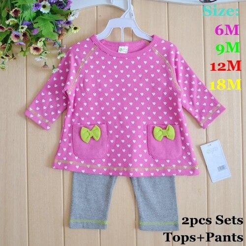 Cute Love Print Tshirt Pants Spring 2015 Baby Girls Clothing Sets Conjuntos Ropa Bebe Menina Baby Girl Clothes Infant Clothing